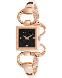 Gucci Womens Tornabuoni Rose-tone Steel Black Dial - Lyst