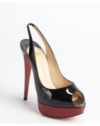 Christian Louboutin Black and Rouge Patent Leather Platform Lady Peep Sling 150 Peep Toe Pumps - Lyst