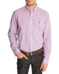 Polo Ralph Lauren Pink Checked Custom Fit Shirt - Lyst