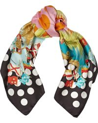 Versace Printed Silk Scarf - Lyst