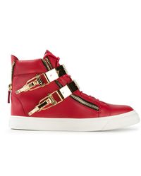Giuseppe Zanotti Red Hitop Sneakers - Lyst
