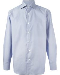 Canali Blue Printed Shirt - Lyst