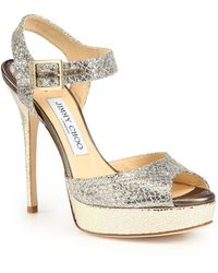 Jimmy Choo Linda Glitter-Coated Leather Platform Sandals - Lyst