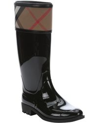 Burberry | Black Rubber And Nova Check Canvas 'crosshill' Pull-on Rain Boots | Lyst