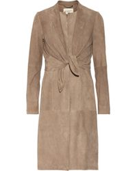 Halston Heritage Knot-Front Suede Coat - Lyst