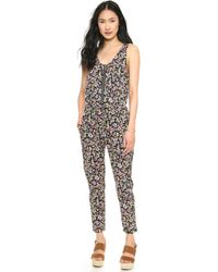 Shades of Grey by Micah Cohen - Tank Drawstring Jumpsuit Navy Fruit Print - Lyst
