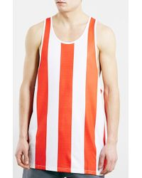 Topman Men'S Oversize Red Stripe 1999 Print Tank Top - Lyst