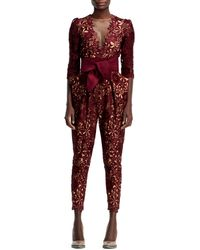 Stella McCartney Halfsleeve Flower Lace Jumpsuit Burgundy - Lyst
