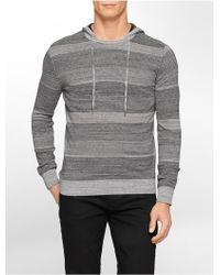 Calvin Klein White Label Ck One Slim Fit Space Dye Striped Hoodie gray - Lyst
