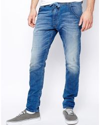Diesel Jog Jeans Krooley Ne 605a Slim Fit Light Wash - Lyst