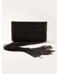 The Row Fringed Leather Clutch - Lyst