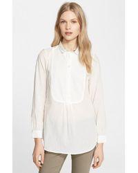 Burberry Brit Women'S Bib Front Flannel Shirt - Lyst