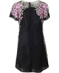 Marchesa Floral Embroidered Shift Dress black - Lyst