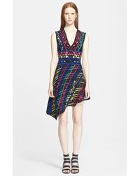 Peter Pilotto Asymmetrical Intarsia Knit Fit & Flare Dress - Lyst