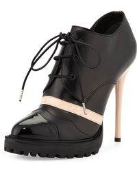 Alexander McQueen   Contrast Leather Lace-Up Boots    Lyst