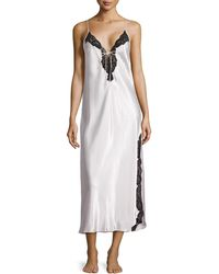 Oscar de la Renta Elegant Touch Lace-Trim Long Gown - Lyst