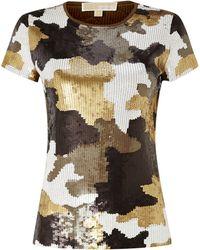 Michael Kors Camouflaged Sequin Tshirt - Lyst