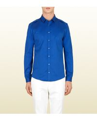 Gucci Blue Twill Duke Button Down Shirt - Lyst