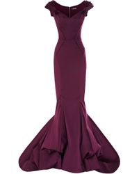 Zac Posen Stretch Duchess Offtheshoulder Gown - Lyst