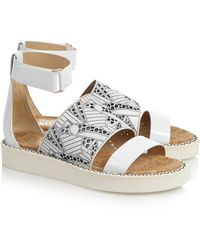 Nicholas Kirkwood + Peter Pilotto Cutout Leather Sandals - Lyst