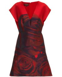 Giambattista Valli Rose-jacquard Satin-twill Dress - Lyst