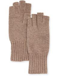 Portolano Wool Fingerless Knit Gloves brown - Lyst