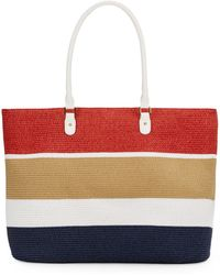 Saks Fifth Avenue Colorblock Straw Tote - Lyst