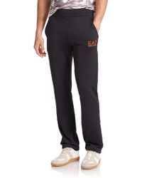 Emporio Armani Logo Banded Sweat Pants black - Lyst