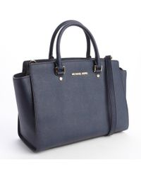 Michael by Michael Kors Navy Leather Selma Logo Imprinted Top Handle Convertible Tote - Lyst
