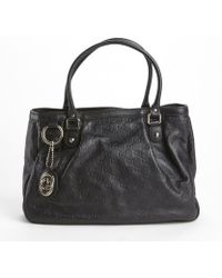 Gucci Black Leather Ssima Pattern Top Handle Tote - Lyst