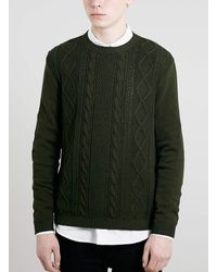 Topman Green Cable Front Jumper - Lyst