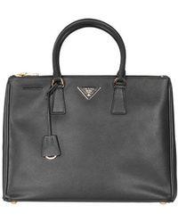 Prada Bn1786 Black Nero Saffiano Lux Double Zip Bag - Lyst