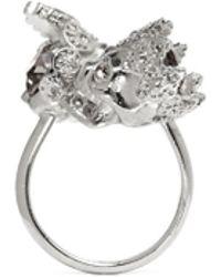 Alexander McQueen King And Queen Skull Ring silver - Lyst