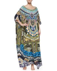 Camilla Silk Printed Round-neck Caftan Coverup - Lyst