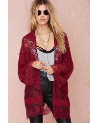 Nasty Gal Sheer Caress Lace Kimono - Lyst