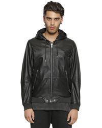 Diesel Hooded Nappa Leather Bomber Jacket - Lyst