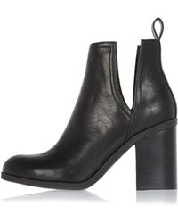 River Island | Black Cut-out Side Heeled Ankle Boots | Lyst