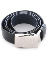 Prada Gloss Leather Belt in Blue for Men | Lyst