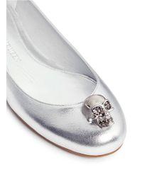 Alexander McQueen | Crystal Skull Leather Ballerina Flats | Lyst