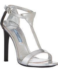 Prada Bicolor Tstrap Sandals - Lyst