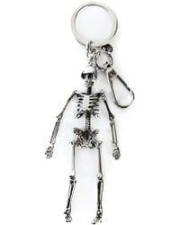 Alexander McQueen Silver Skeleton Keyring - Lyst