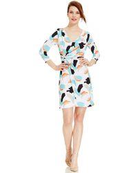 Tahari Asl Abstract-Print Faux-Wrap Dress white - Lyst