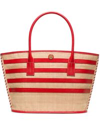 Tory Burch Stripe Straw Large Tote - Lyst
