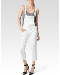 Paige Sierra Overall Optic White Destructed - Lyst