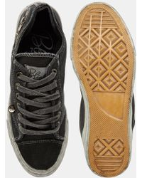 Bronx - Washed Canvas Plimsolls In Black - Lyst