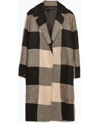 Zara Checked Coat With Lapel black - Lyst
