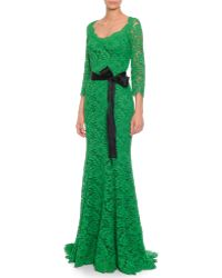 Dolce & Gabbana Fringed Floral-Lace Godet Gown - Lyst