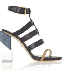 Maiyet Perspex-Heeled Leather Sandals - Lyst