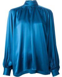 Yves Saint Laurent Vintage Bow Fastening Blouse - Lyst