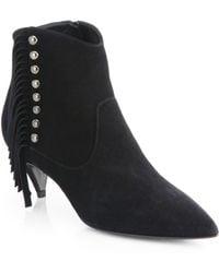 Saint Laurent Suede Fringe-Trimmed Ankle Boots - Lyst